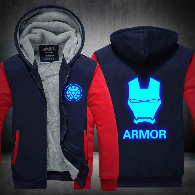 Chaqueta para hombre abrigo con cremallera de lana cálido 2019 invierno grueso para Hombre Ropa Deportiva chándal hombre europeo con capucha cosplay de Iron Man