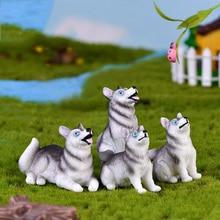 2Pcs Cute Husky Small Wolf Dog Miniature Figurines Fairy Gar