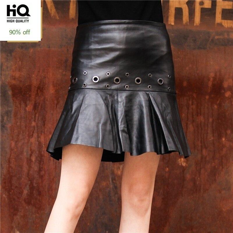 2020 Genuine Leather Skirts Women Black Real Sheepskin Leather Female High Waist Streetwear Top Quality Ladies Mini Skirts Punk