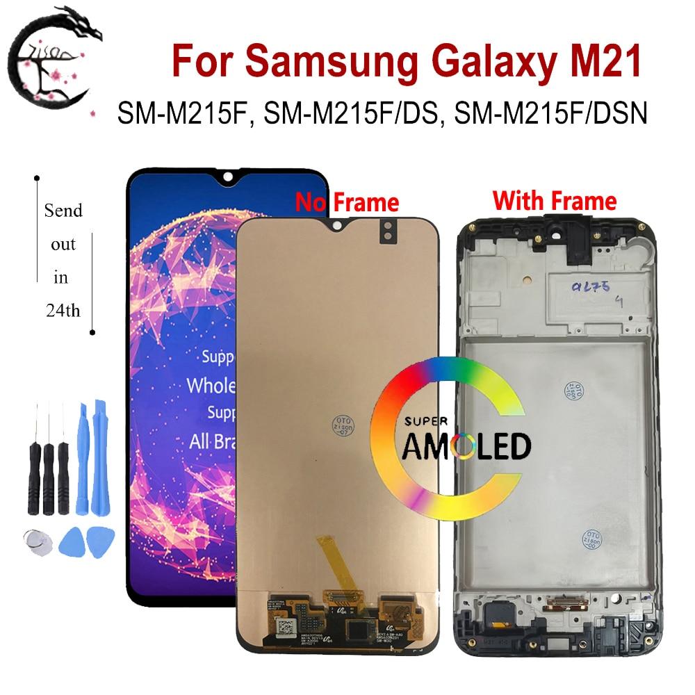 Super AMOLED ЖК-дисплей с рамкой для SAMSUNG Galaxy M21 2020 LCD M215 дисплей SM-M215F/DS ЖК-экран сенсорный датчик дигитайзер в сборе