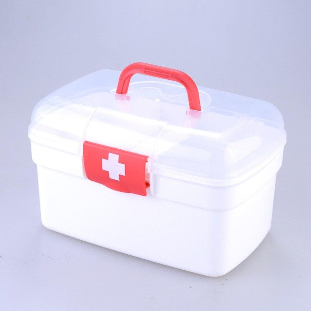 Аптечка первой помощи MJ71503, пластиковый контейнер, Портативный двухуровневый Органайзер большой емкости для медицинского хранения