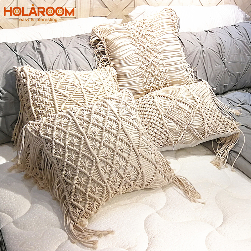 Boho Cushion Cover Macrame Pillows Case Bohemia Geometric Pattern Cotton Thread With Tassels Pillowcase Sofa Throw Home Decor