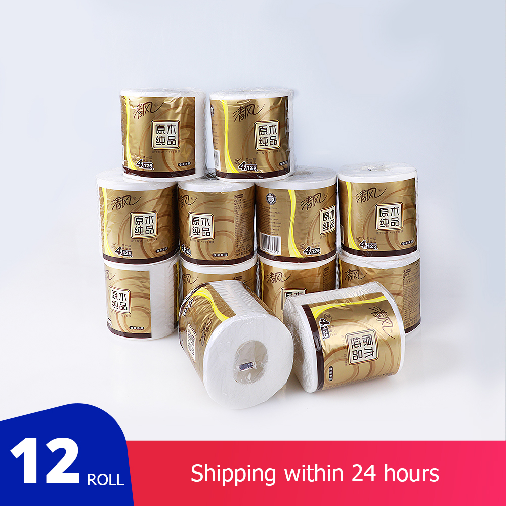 Pack Of 12 Rolls 4-ply Toilet Paper Home White Soft Toilet Roll  Primary Wood Pulp Toilet Tissue With Fast-Drying Fast Shipping