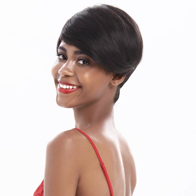 Rebecca Mix Color Short Straight Hair Wig Peruvian Remy Human Hair Wigs For Black Women Brown Red Pixie Cut Wig Free Shipping