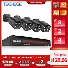 Techege 4CH 5MP POE CCTV Security System Kit AI Human Detection IP Camera Outdoor Waterproof CCTV Video Surveillance Camera Kits