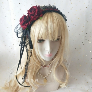 Лолита Готический Темный сладкий японский стиль Loli C кружева Крест повязки для волос Лолита головной убор K