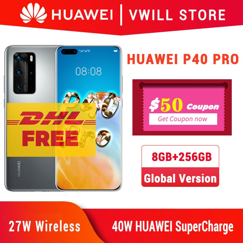 Dhl Gratis Schip Global Versie Huawei P40 Pro 5G Mobilephone 6.58 Kirin 990 8Gb 256Gb Bluetooth 5.1 Gezicht Unlock Wifi 6