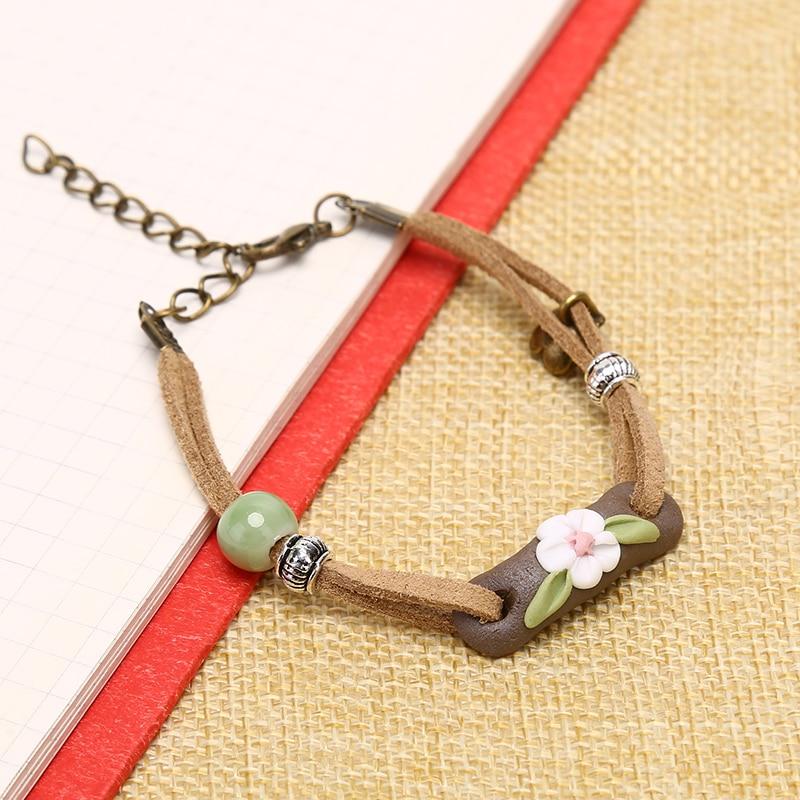 Fashion Ethnic Original Ceramic Bronze Handmade Bangle Bracelets Girl Gifts LL