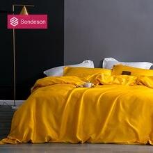 Sondeson роскошный красивый 100% шелк желтый Комплект постельного