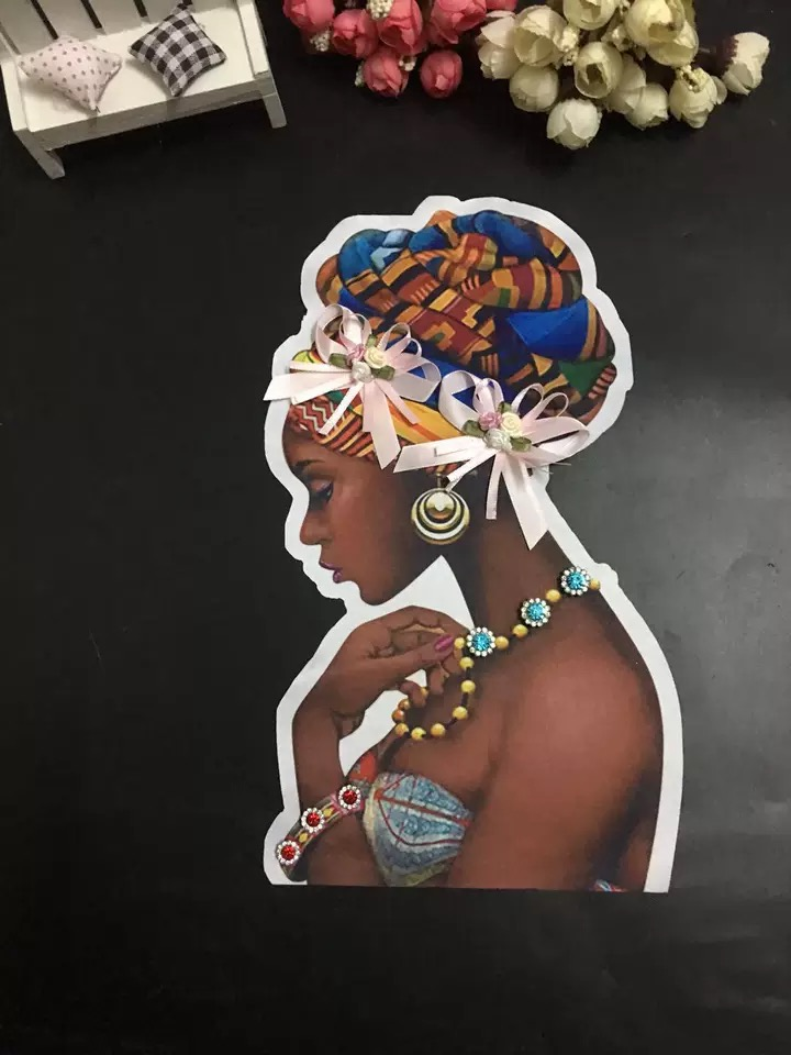 Heat Transfer Printing African Women Sew On Patches For Clothes Jacket Handmade Flower Beaded Black Girl Appliques 3D Printed