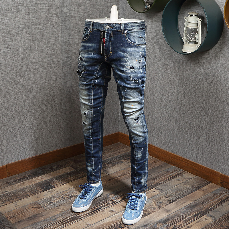 Italian Style Fashion Men Jeans Retro Blue Destroyed Slim Ripped Jeans Spliced Designer Hip Hop Jeans Men Vintage Denim Pants