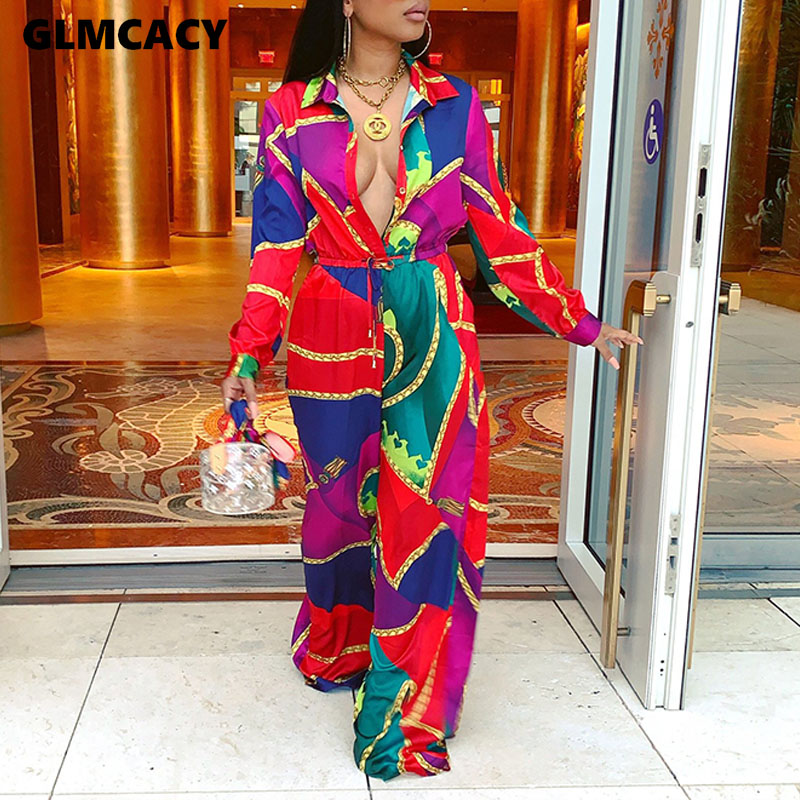 Women Floral Printed Long Sleeve Turn Down Collar Jumpsuits Sexy Boho Beach Jumpsuits Fall Fashion Elegant Party Long Overalls
