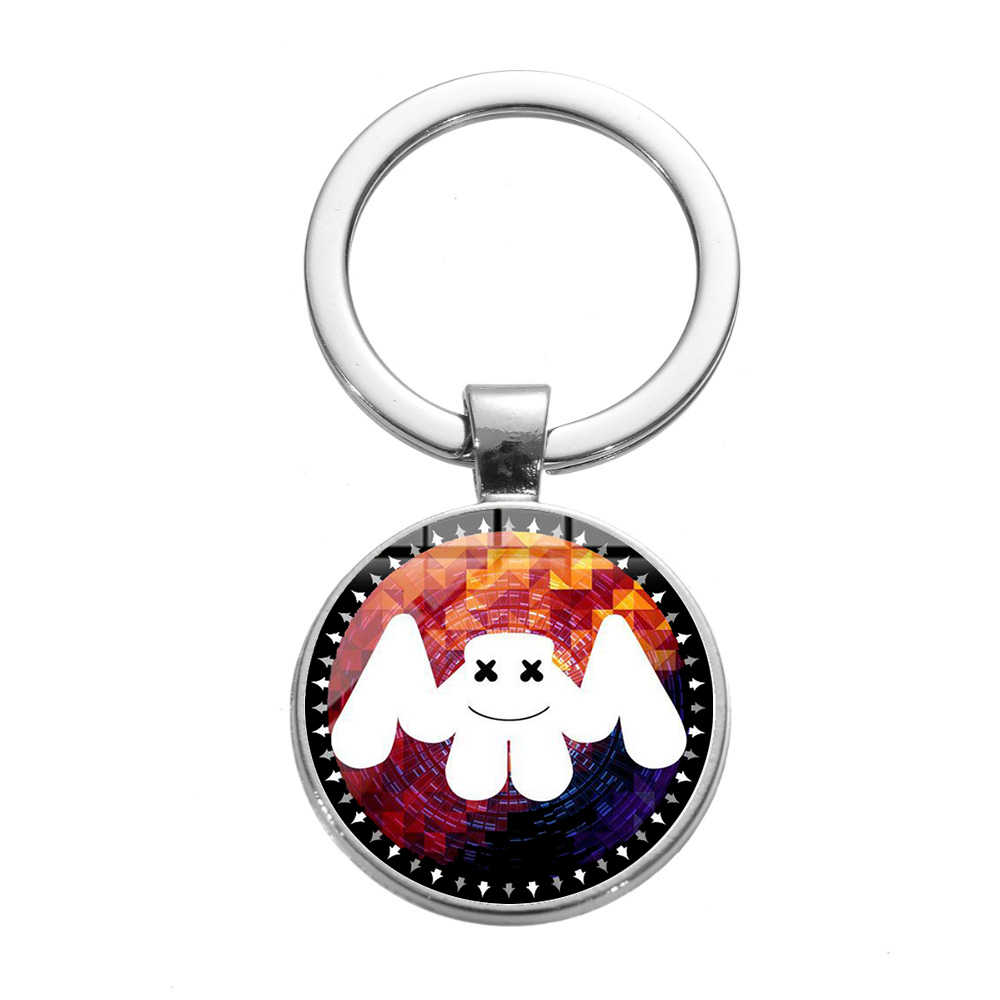 SONGDA Hip Hop Popular Music DJ Marshmallow Keychain Cool Cartoon Logo Trendy Printed Glass Gem Key Chain Ring Holder Party Gift