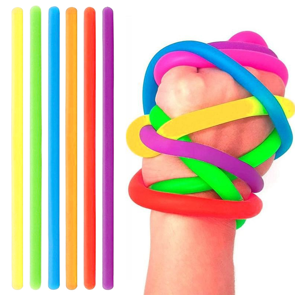 6Pcs Stretchy Noodle String Neon Kids Childrens Fidget Stress Relief Sensory Toy Decompression Elastic Rope Anti-Anxiety Toys