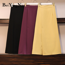 Beiyingni 2020 Chiffon Elegant Midi Skirt Women Korean Plus Size Maxi Long Work