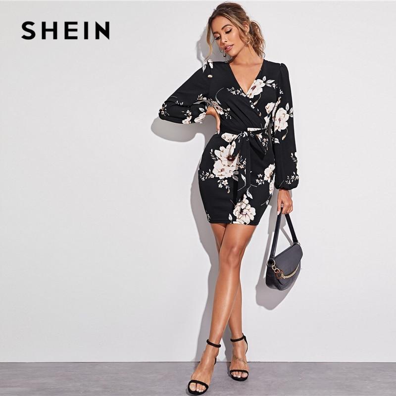 SHEIN Surplice Neck Lantern Sleeve Self Belted Floral Pencil Dress Women High Waist Slim Fit Elegant Bodycon Short Dresses 1