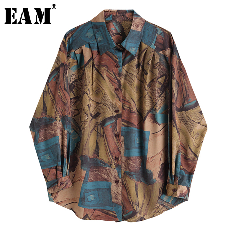 [EAM] Women Abstract Pattern Printed Big Size Blouse New Lapel Long Sleeve Loose Fit Shirt Fashion Tide Spring Summer 2020 1X737
