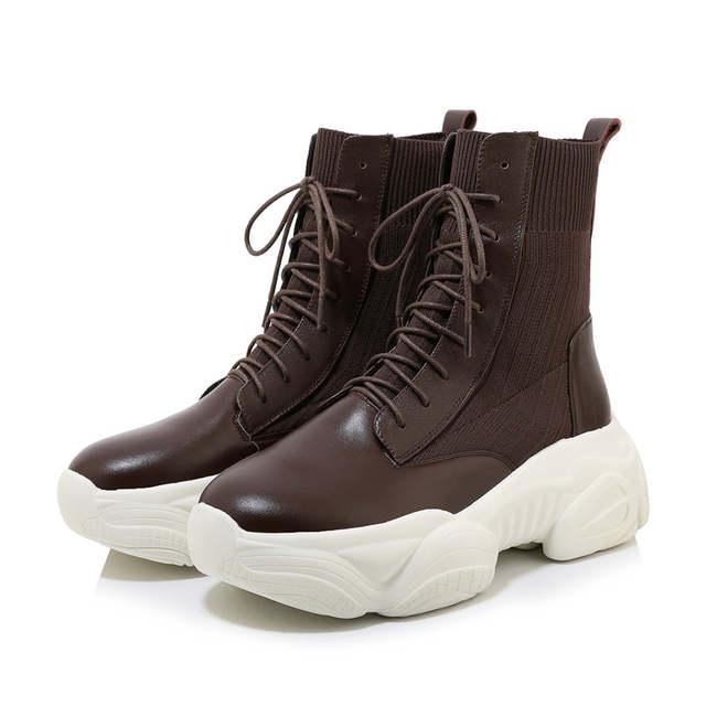 ANNYMOLI zimowe damskie botki platformowe buty na koturnie
