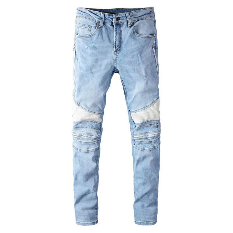 Sokotoo Men's Light Blue White PU Leather Patchwork Biker Jeans Fashion Streetwear Slim Skinny Stretch Denim Pants