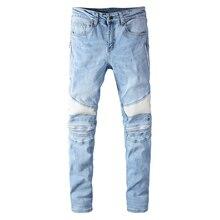 Denim Pants Biker-Jeans Sokotoo Light-Blue Stretch Patchwork Skinny Slim White Men's