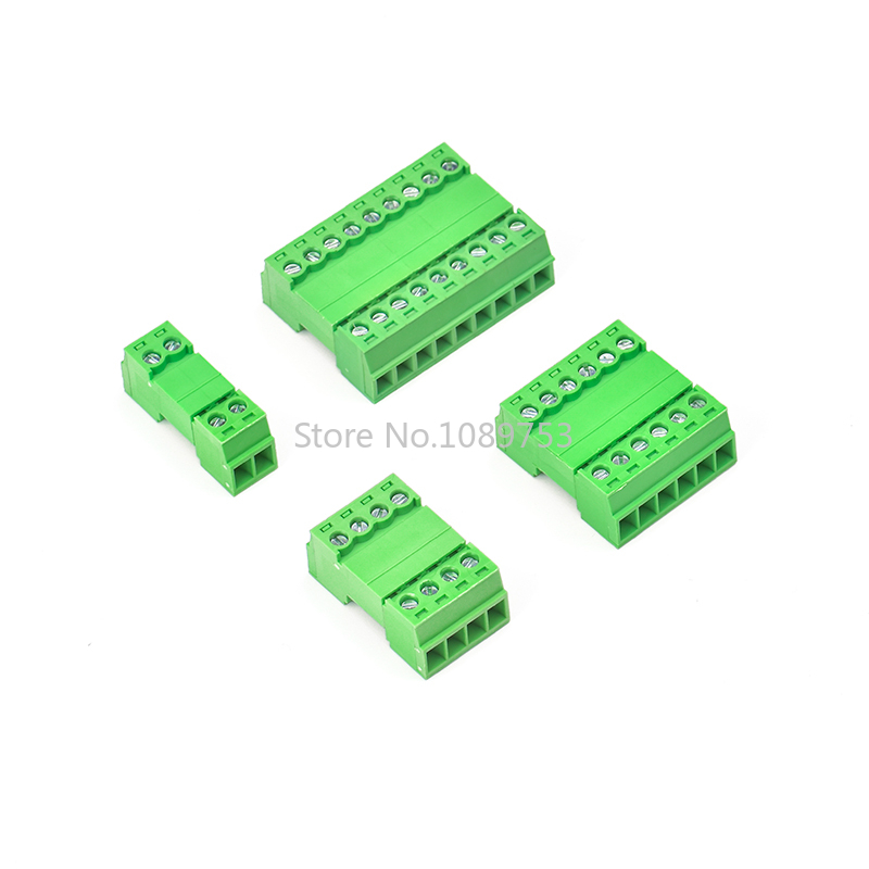 5Sets 15EDGRK 3.81mm 2/3/4/5/6 Pin Right Angle Screw Terminal Block Connector 3.81MM Pitch Plug + Pin Header Socket