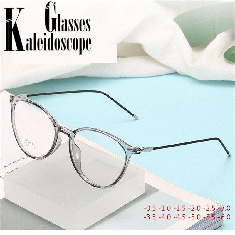 -1 -1.5 -2.0 -2.5 -3 -4 To -6.0 Finished Myopia Glasses Women Men Transparent Frame Fashion Student Short-sighted Eyeglasses