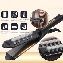 Buhar saç düzleştirici geniş Panel düzleştirici sıcaklık ayarı seramik iyonik buhar saç düzleştirme ütüler