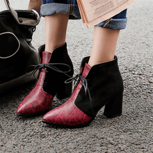 Plus Size 34-48 Fashion Mixed Colors Thick Heel Pumps Martin Boots Pointed Toe Ankle Womens Shoes Lgck Sexy