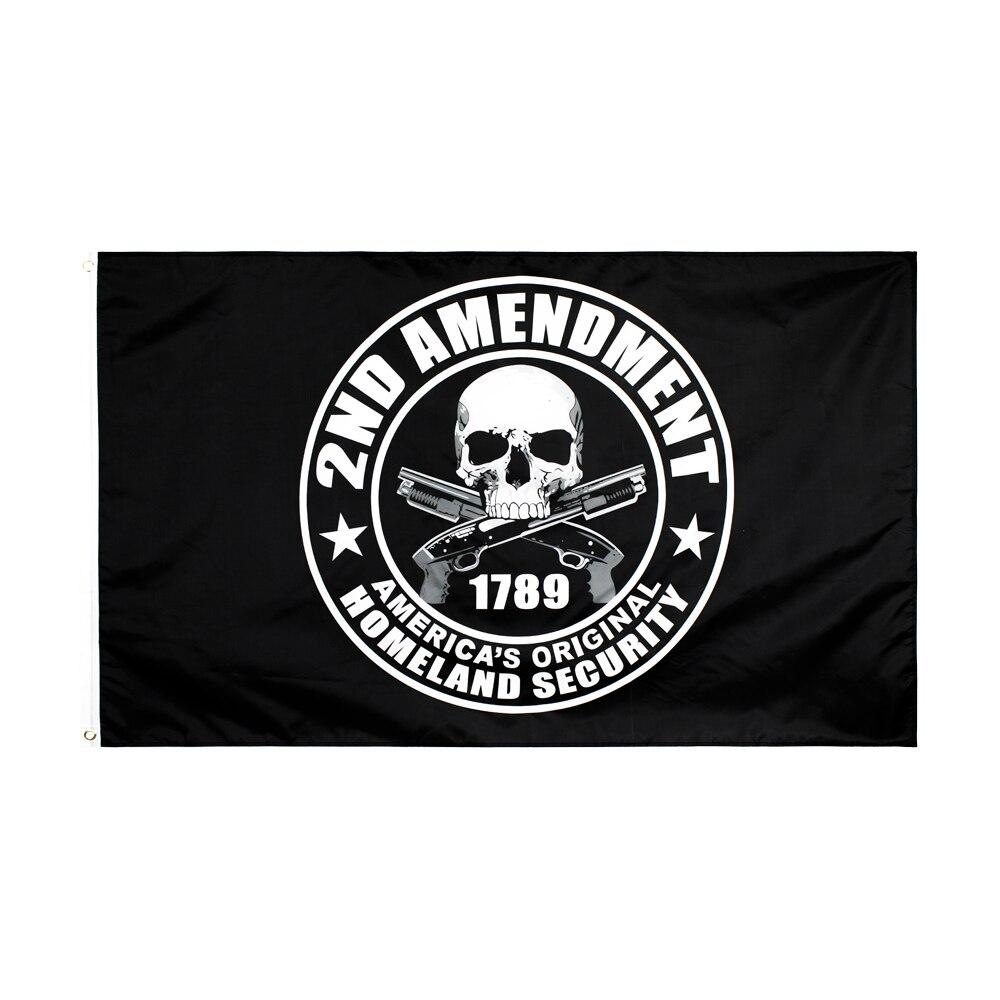 Xiangying 90x150cm 2nd Amendment Gun 1789 skull Flag(China)