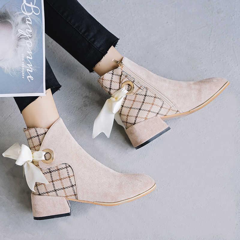 Compre Botas De Mujer Botines De Tacón Medio Botas Cortas 2019 Punta Puntiaguda De Invierno Tacones De Punta Zapatos De Otoño Zapatillas Sin Cordones