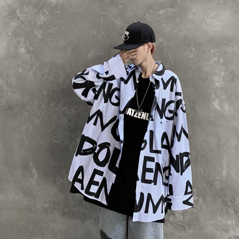 Shirts Men Oversized Plus Size Baggy Clothes Streetwear Tops Mens Blouse Hip Hop Black Hipster Clothing Students Shirt Loose