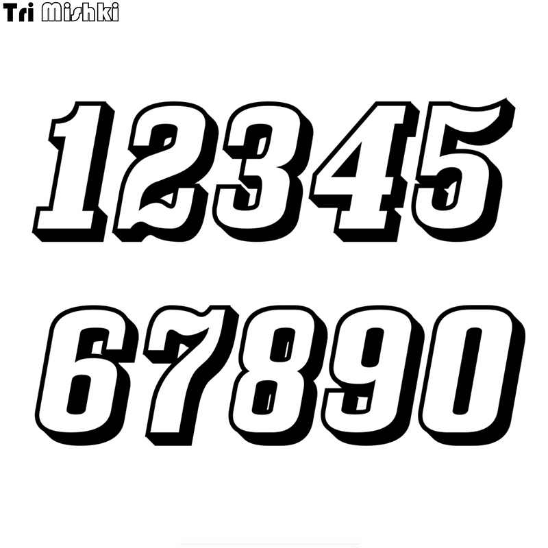 Tri Mishki HZX1300 # 3D Racing Nummer Helm Decals Auto Sticker Grappig Vinyl Decals Motorfiets Accessoires Stickers