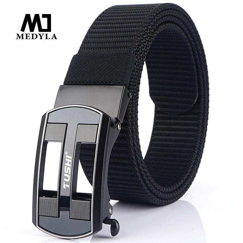 MEDYLA 2020 Non-hole Tactical Belt New Technology Automatic Buckle Soft Nylon Mens Military Army Belt Hard Metal Buckle Belt Men