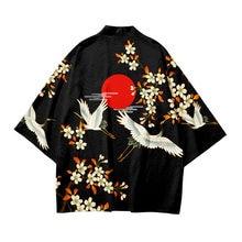 Crane 3D Printing Japanese Kimono Haori Yukata Cosplay Unisex Fashion Summer Casual Short Sleeve Street Clothing Comfortable