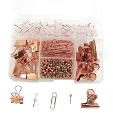 Binder-Clips Rose-Gold-Pack Push-Pins Home-Supplies Office School for And Tacks-Sets