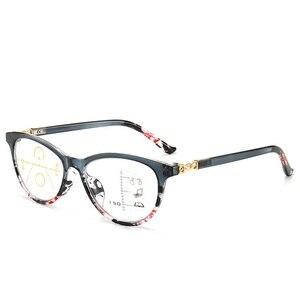 Image 2 - LONSY عالية الجودة المرأة التقدمية نظارات للقراءة مكافحة الأزرق عدسات إضاءة نظارات طويل النظر قصر النظر نظارات القراء