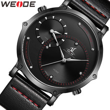 WEIDE Men 2020 Watch Military Dial Clock Leather Strap Men's Watches Sports Quartz Military Movement Complete Calendar Men Watch weide clock luxury quartz watches men white sports electronic watch leather strap watchbands mehanical hand wind water resistant