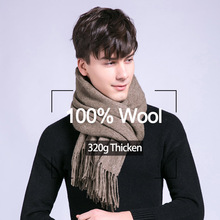 Winter Male Tassels Scarf  Warm Cashmere Scarves Men Big 100% Pure Wool soft Shawl Wraps Luxury Brand High Quality solid