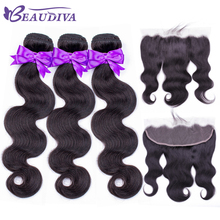 BEAUDIVA Human Hair 3 Bundles With Frontal Closure Brazilian Hair Body Wave 13x4 Ear to Ear Lace Frontal Closure With Bundles