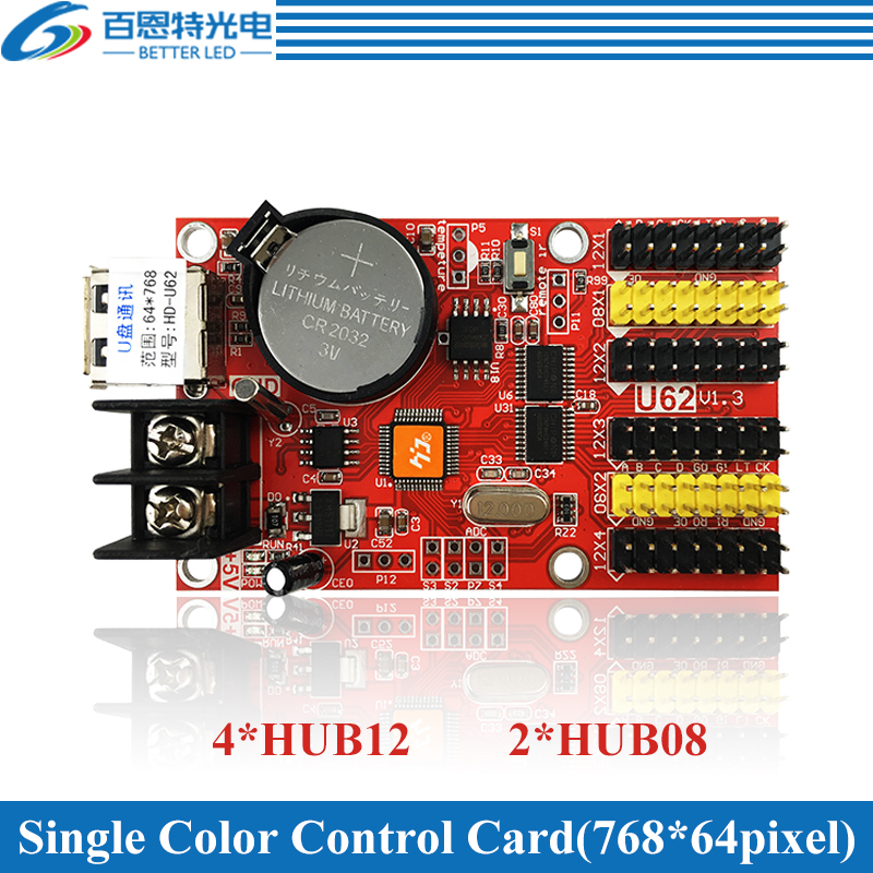 HD-U62 USB 4*HUB12 & 2*HUB08 Single Color(768*64 Pixels) & Dual Color(384*64 Pixels) LED Display Control Card