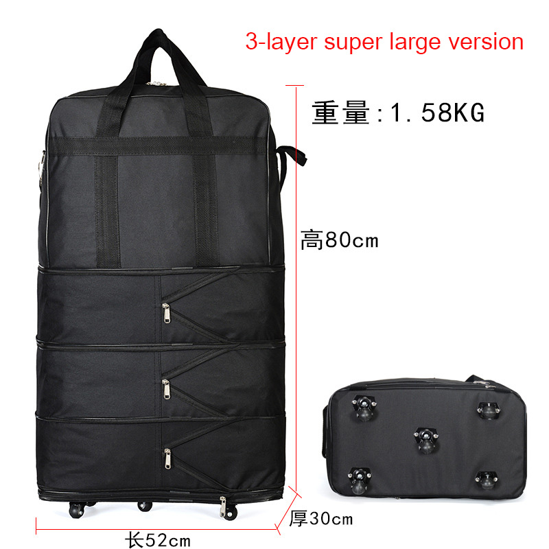 Duffel Portable Travel Bag Oxford Spinning Rotating Folding Luggage Bag 158 Air Transport Bag Large Capacity Caster Travel Bags