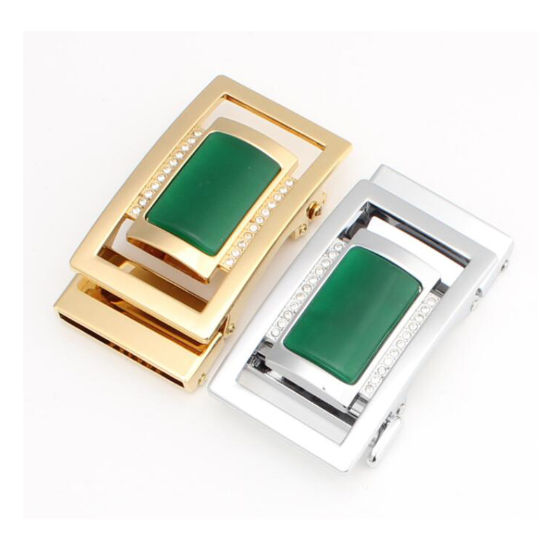 Western Red Green Yellow Jade Rhinestone Sliver Gold Plated Auto Men Buckle Fit For 3.5cm Strap