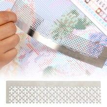 Règle de dessin pour peinture diamant, grille à mailles 5D, perceuse carrée et ronde, accessoire de broderie en acier inoxydable, outils d'art 15x3cm