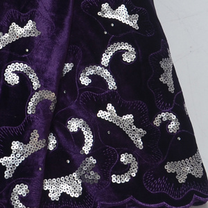 Image 2 - New African Latest Design purple Velvet Lace Fabric 5 Yards/pcs High Quality French Lace With Sequins fabric For Party Dress