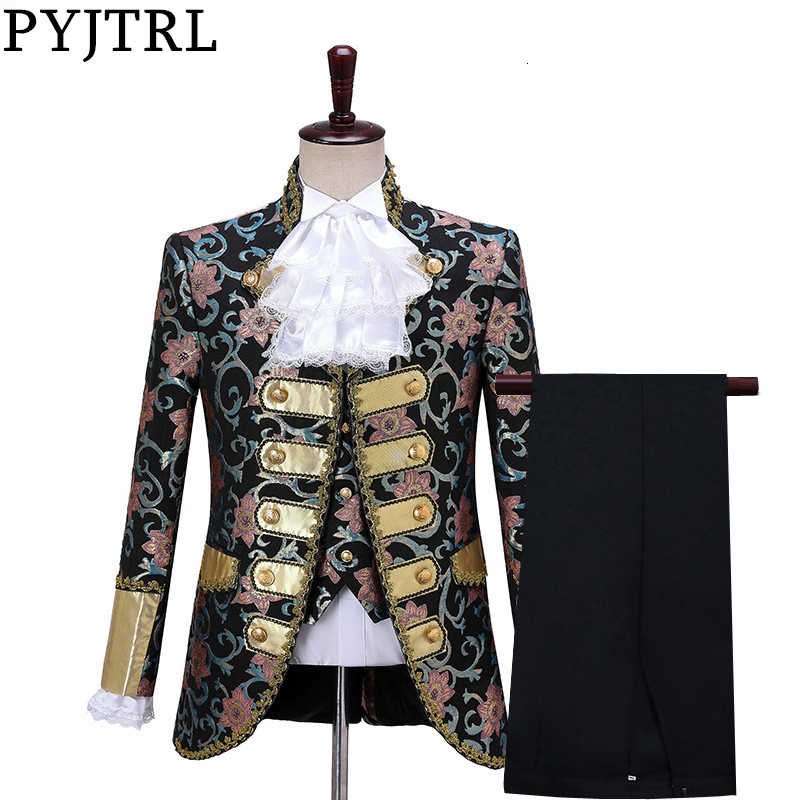 PYJTRL Men Fashion Five-piece Set Gothic Style Palace Suits Wedding Groom Floral Pattern Suit Stage Singers Party Prom Costume