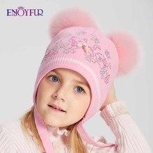 ENJOYFUR, зимние шапки для девочек, двойной Лисий мех, помпон, детская шапка, милый кот, узор, стразы, шапочки для детей, теплые трикотажные шапки