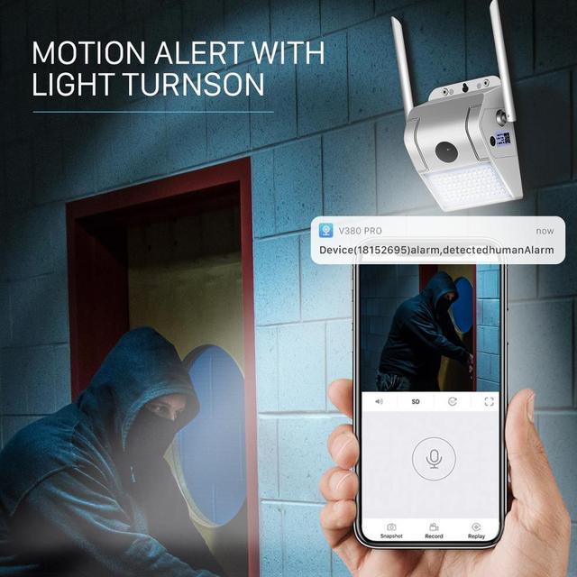 1080P sans fil IP caméra applique sécurité extérieure bidirectionnelle Audio projecteur couleur Vision nocturne Wifi caméra V380 5