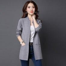 Cardigan à manches longues et col en V pour femme, veste solide et ample, collection automne 2021