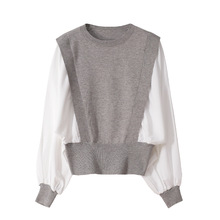 Pullover Sweater Knit O-Neck Cotton Tops Jumpers Stitching Long-Sleeve Loose Elegant