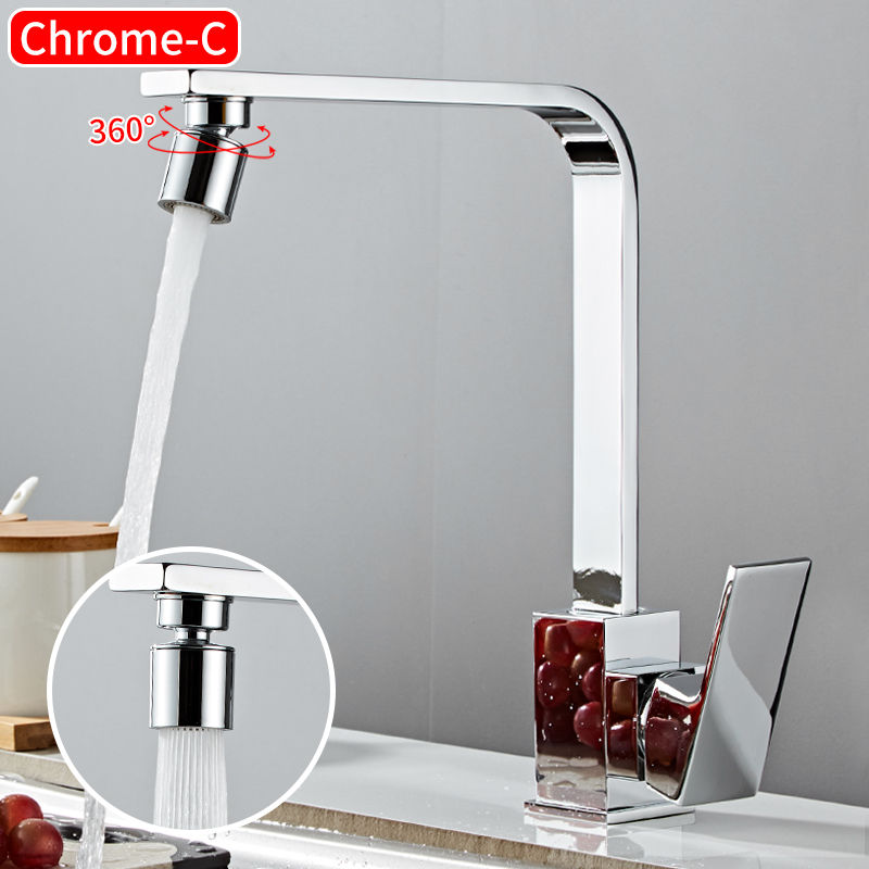 Kitchen Faucet Black Brass 360 Degree Rotation Kitchen Sink Faucet Mixer 2 Effluent Modes Single Handle Hole Hot Cold Water Tap